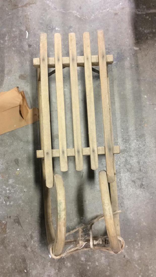 Vintage Wooden Hand Made Sled Toboggan - 3