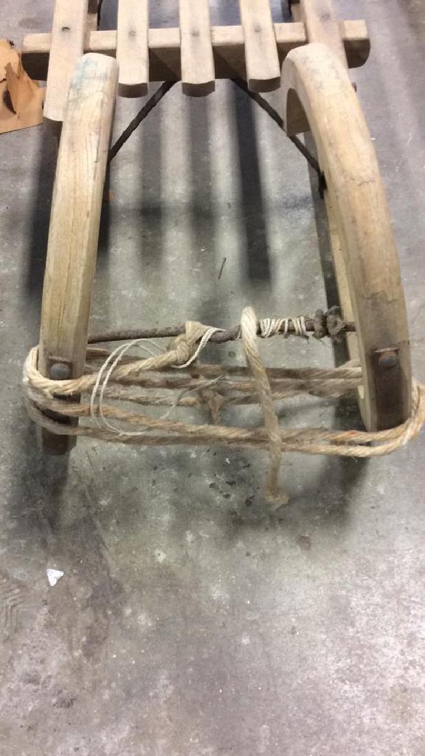 Vintage Wooden Hand Made Sled Toboggan - 4