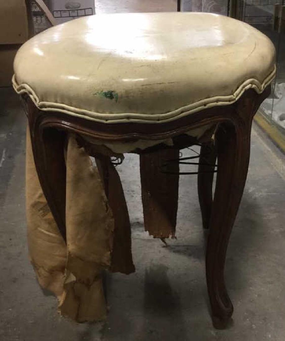Carved Wooden Upholstered Footrest Stool