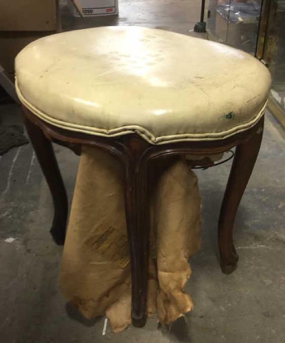 Carved Wooden Upholstered Footrest Stool - 4