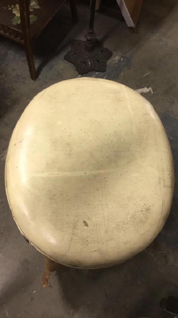 Carved Wooden Upholstered Footrest Stool - 6