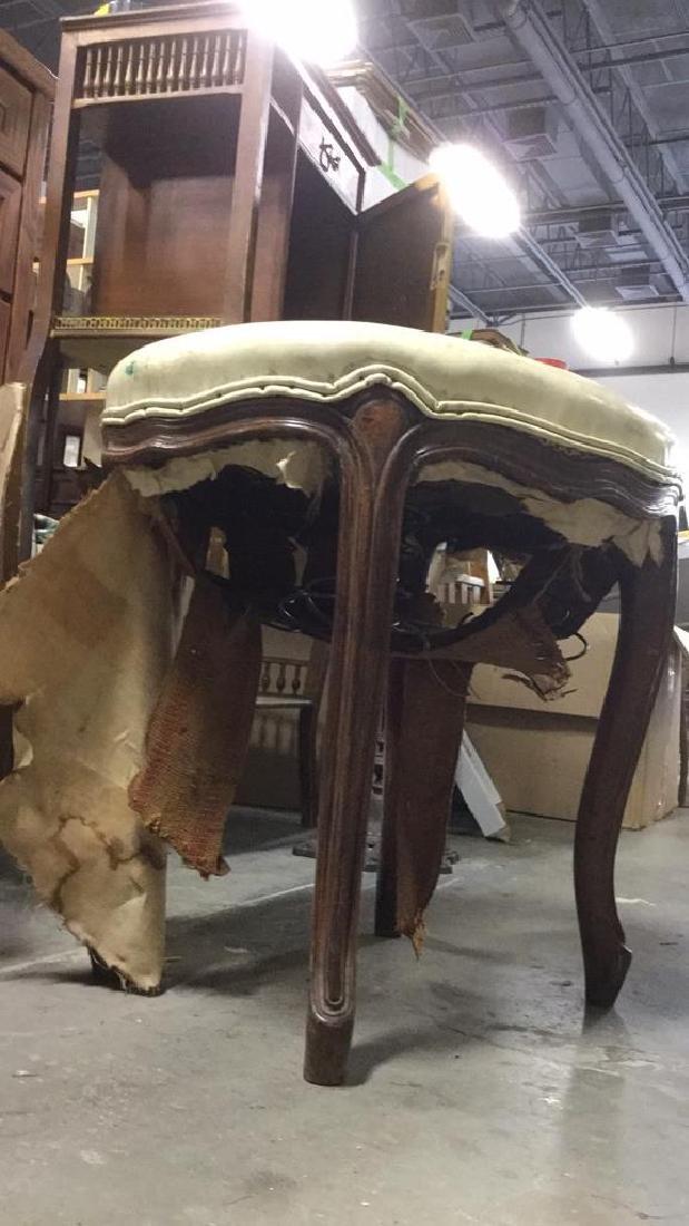 Carved Wooden Upholstered Footrest Stool - 7