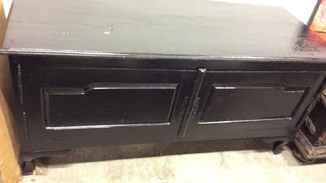 Black Toned Glossy Paint Console Table Cabinet