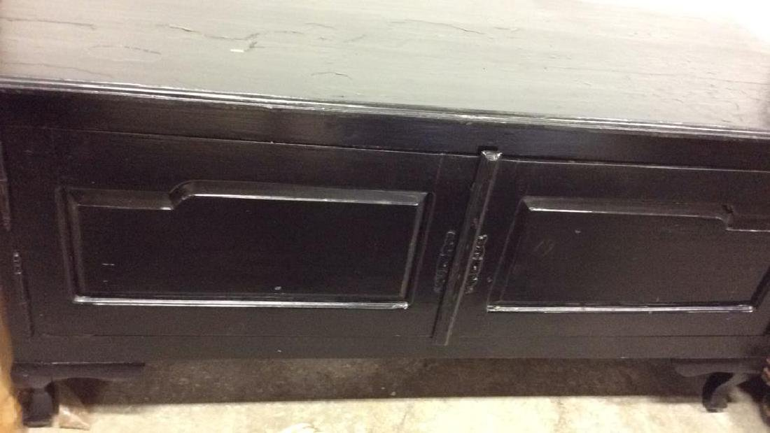Black Toned Glossy Paint Console Table Cabinet - 2