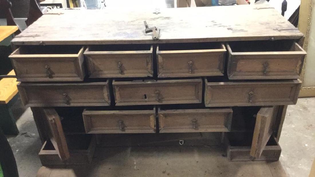 Antique Wooden Chest W 11 Interior Drawers - 3