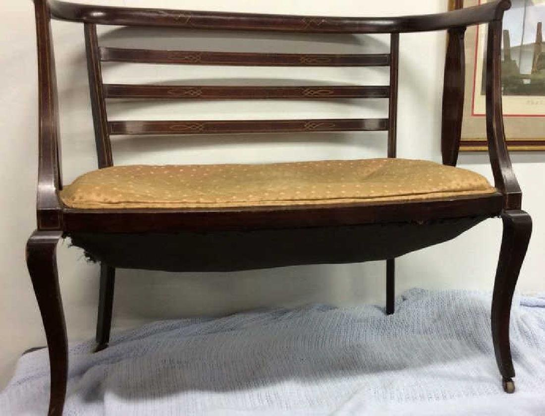 Vintage Upholstered Seated Wooden Bench