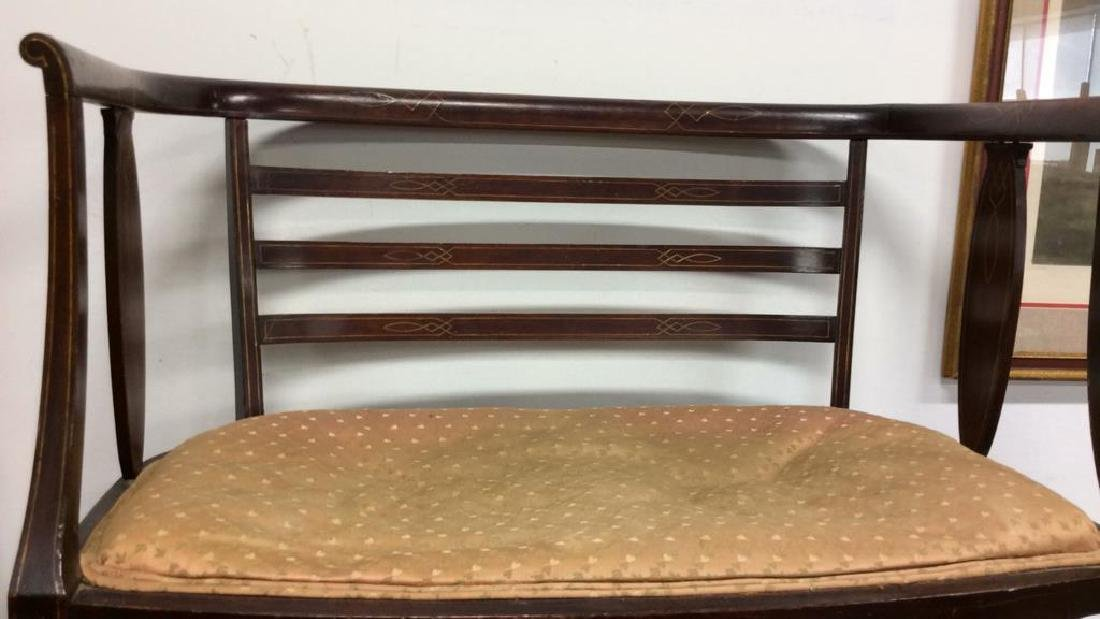 Vintage Upholstered Seated Wooden Bench - 2
