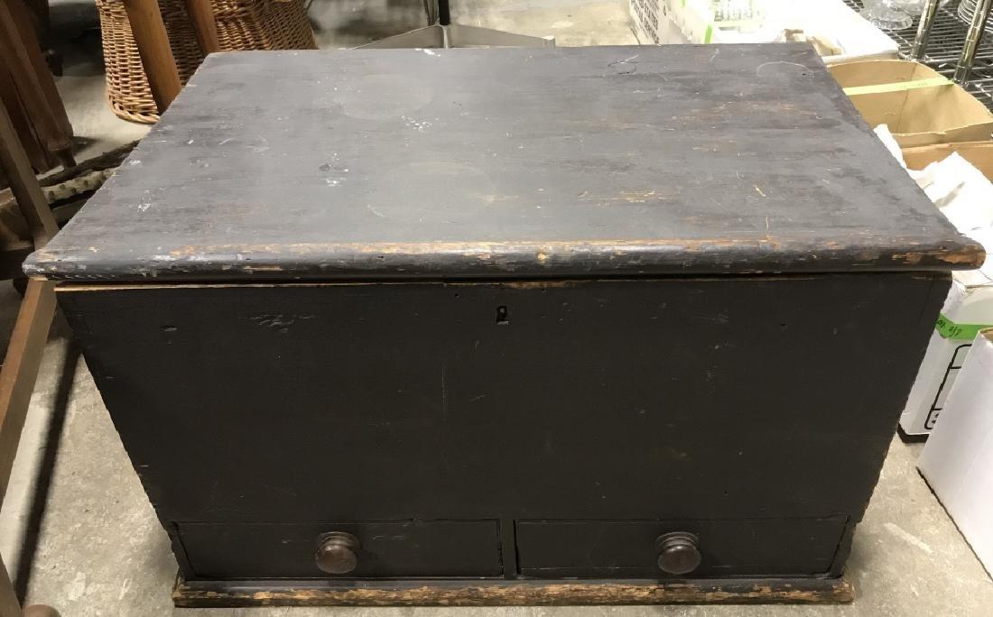 Antique Wooden Flip Top Trunk