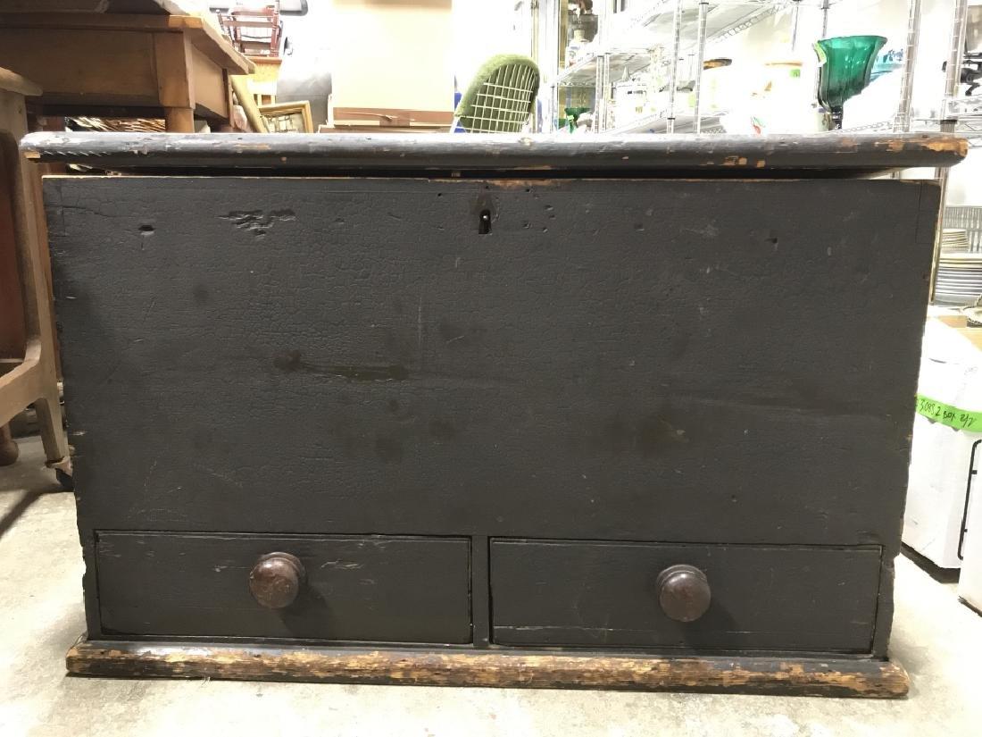 Antique Wooden Flip Top Trunk - 2
