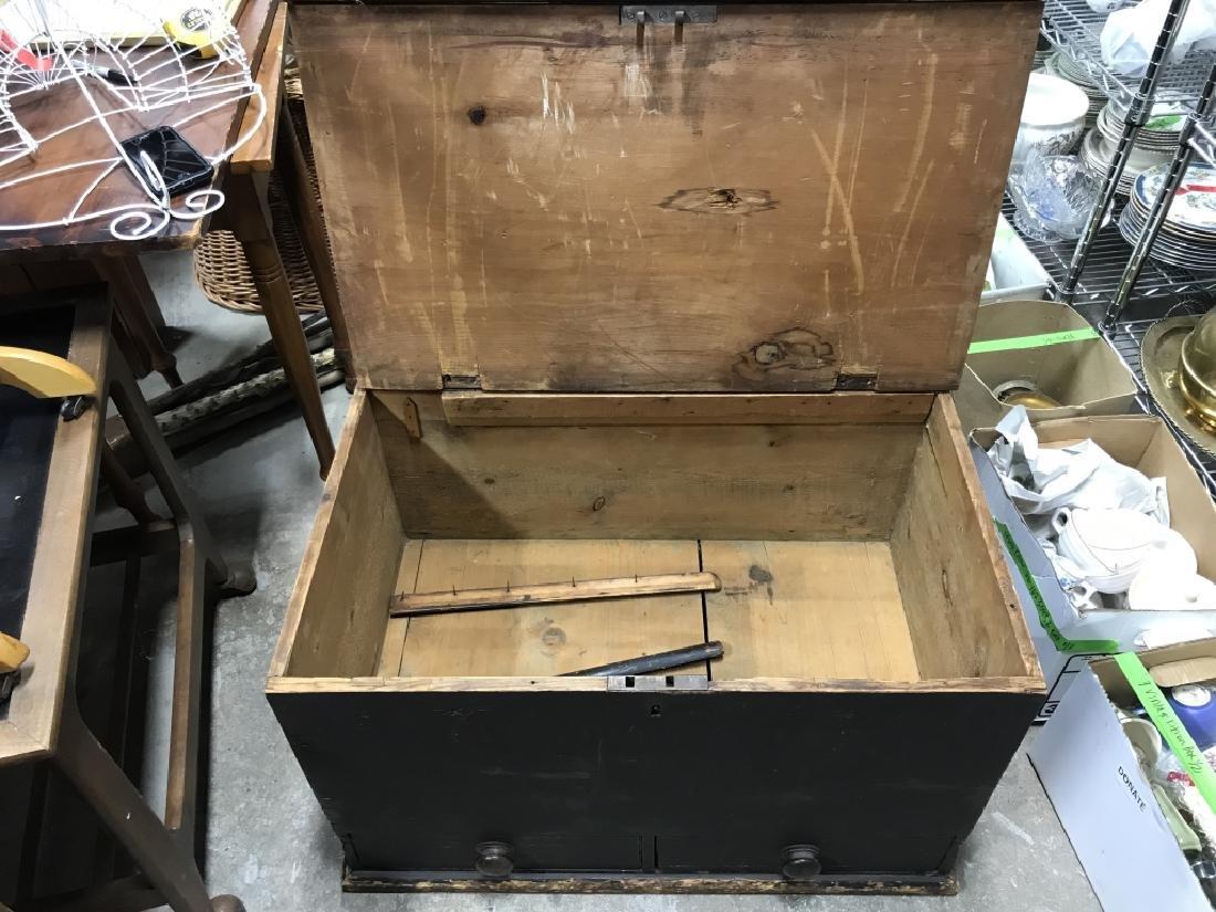 Antique Wooden Flip Top Trunk - 4