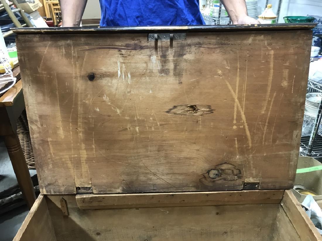 Antique Wooden Flip Top Trunk - 5