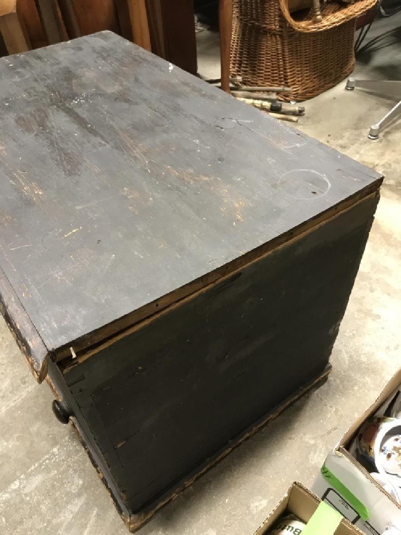 Antique Wooden Flip Top Trunk - 7