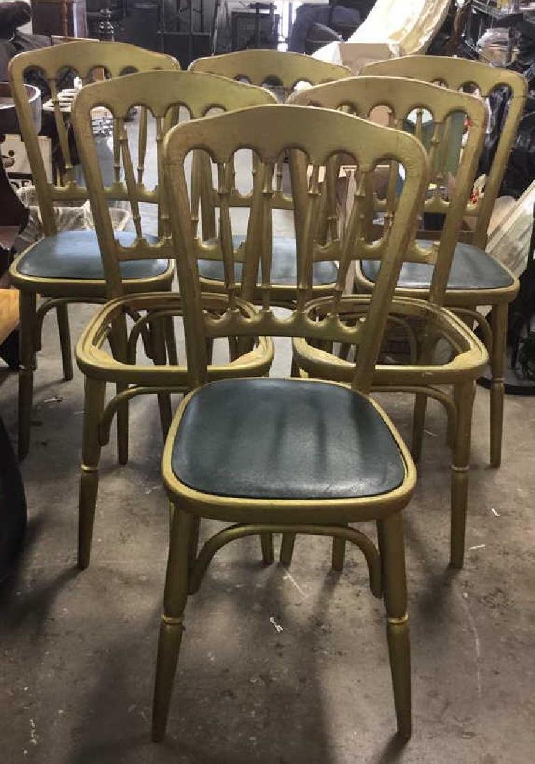 6 GRAISON Gold Toned Carved Wooden Chairs