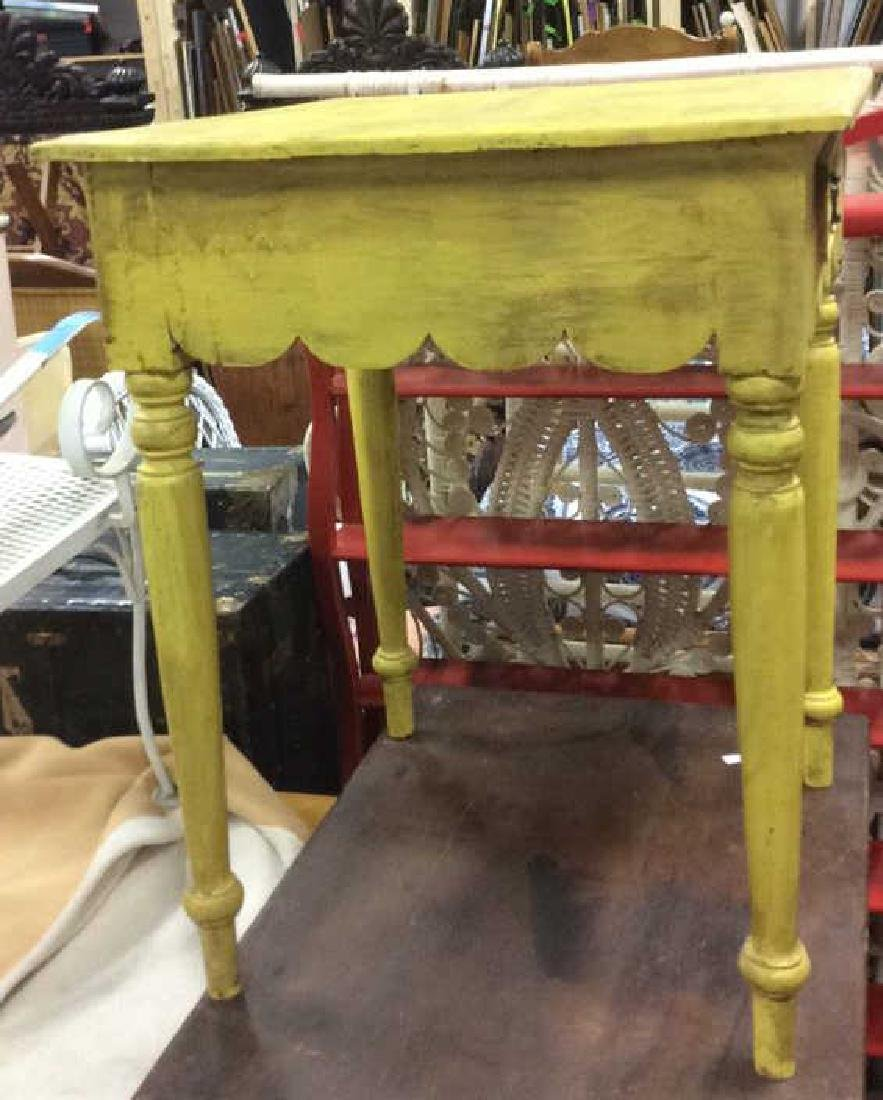 Yellow Mustard Toned Wooden Table - 5
