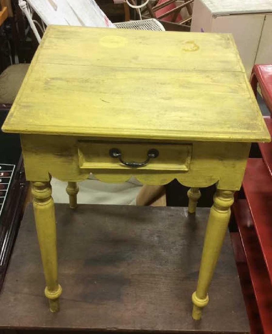 Yellow Mustard Toned Wooden Table - 6
