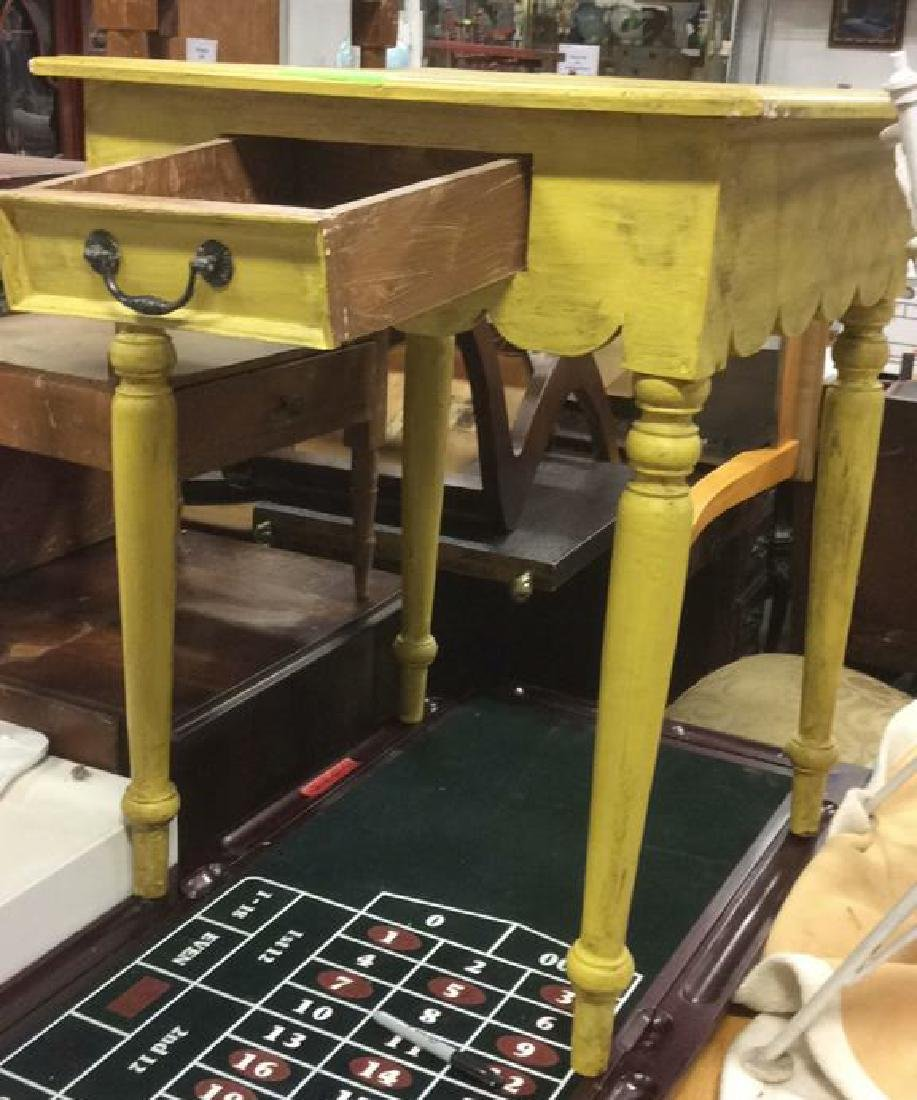 Yellow Mustard Toned Wooden Table - 7