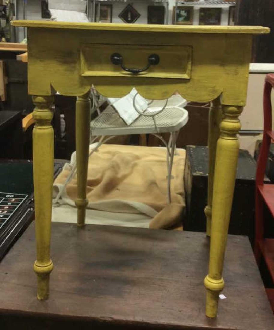 Yellow Mustard Toned Wooden Table - 8