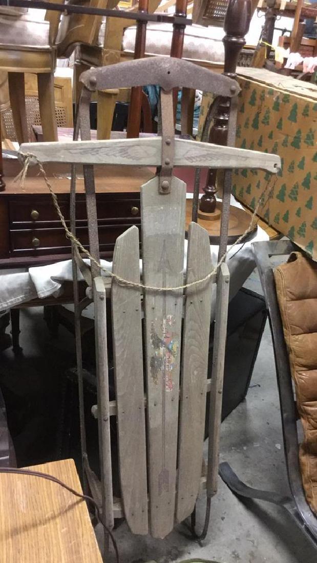 Vintage Flexible Flyer Wood & Metal Sled - 3