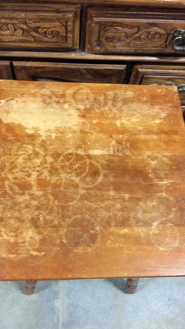 ANtique Tavenr Style Wooden Side Table - 3