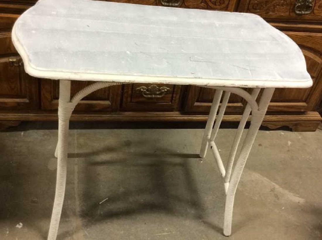 White  Painted Wood  Wicker Side Table