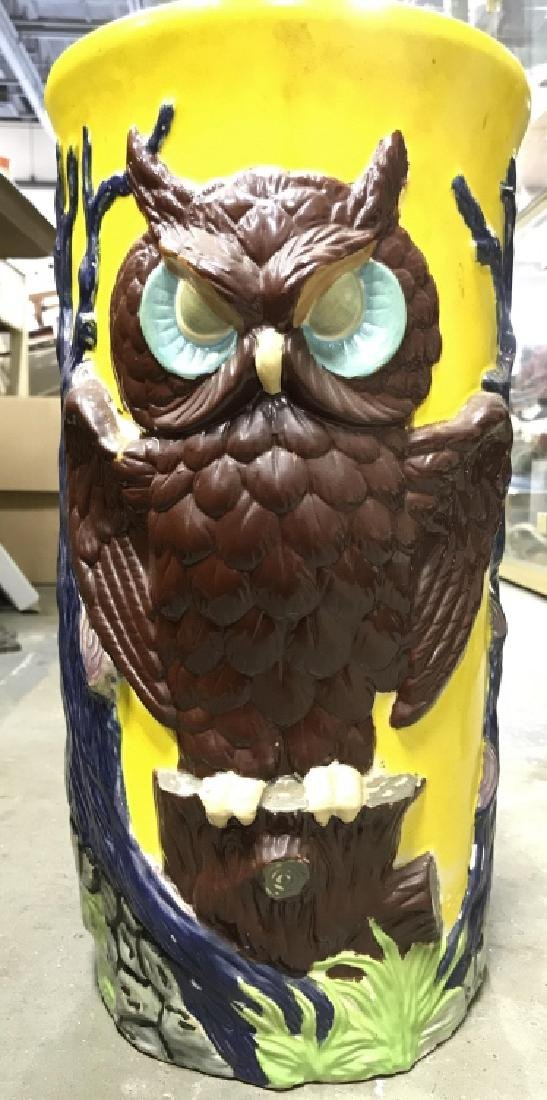 Painted Ceramic Umbrella Stand With Owl Motif