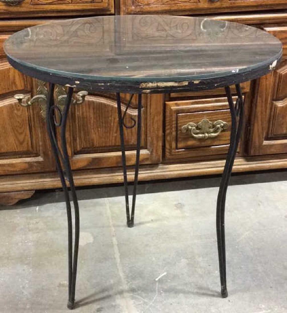 Wooden Side Table W Scrolled Metal Legs