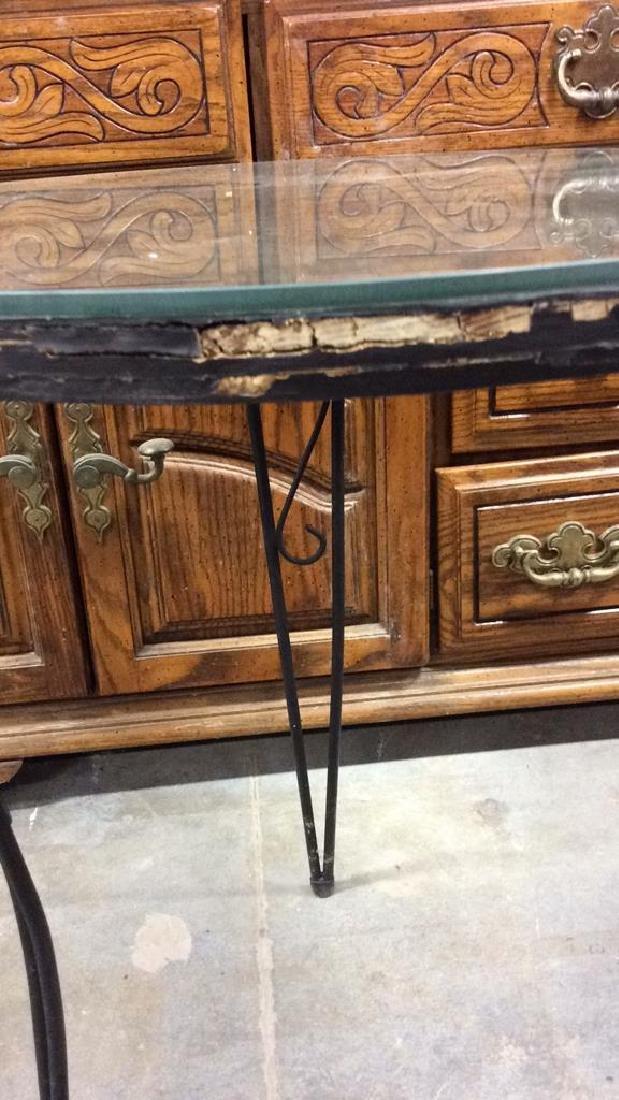 Wooden Side Table W Scrolled Metal Legs - 3