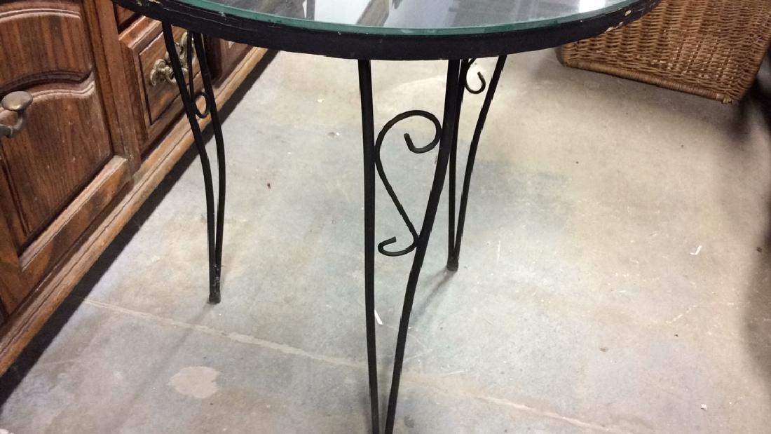Wooden Side Table W Scrolled Metal Legs - 4