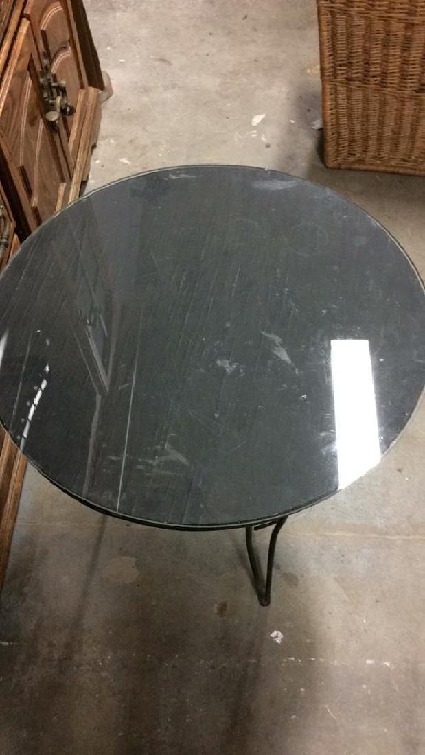 Wooden Side Table W Scrolled Metal Legs - 5