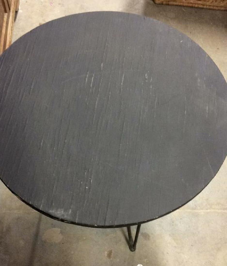 Wooden Side Table W Scrolled Metal Legs - 6