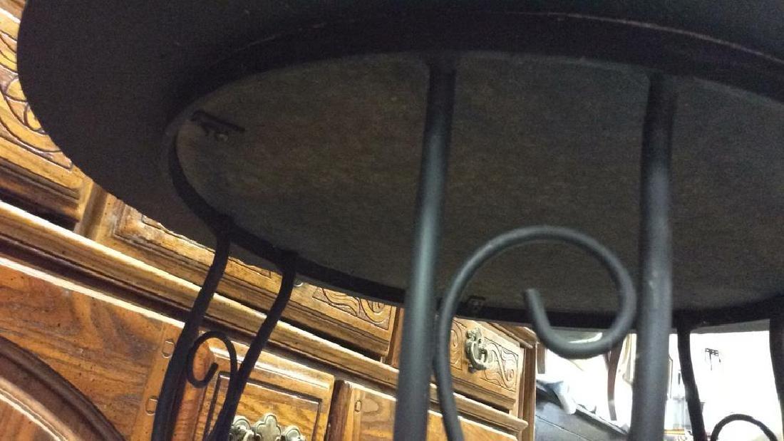 Wooden Side Table W Scrolled Metal Legs - 8
