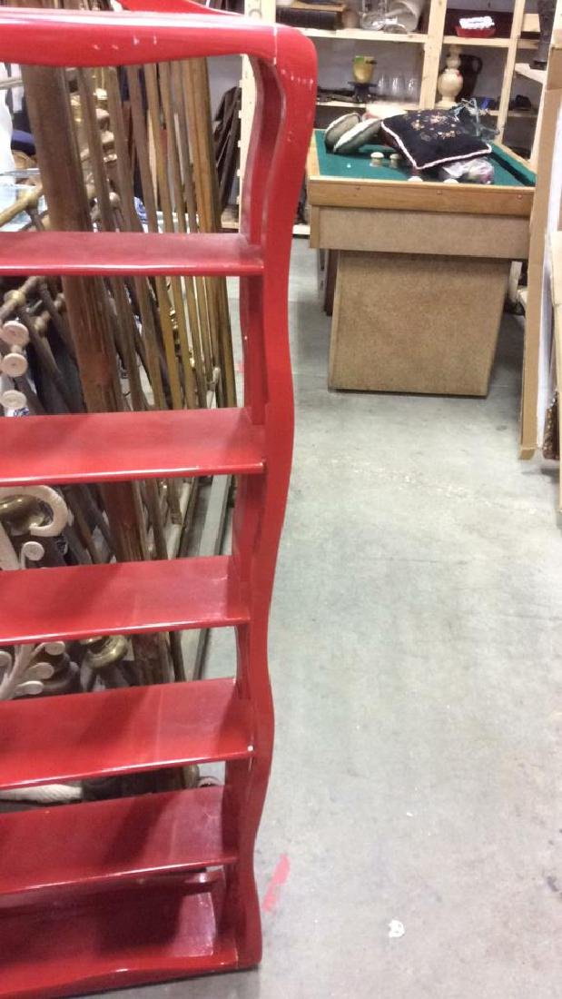 Glossy Red Toned Wooden Display Shelf - 3