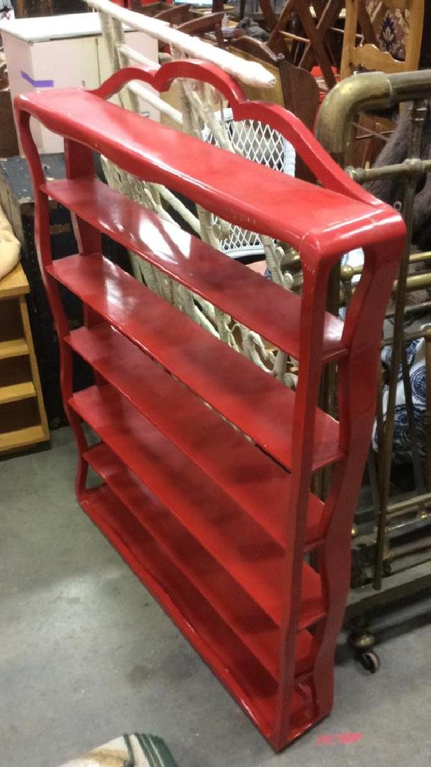 Glossy Red Toned Wooden Display Shelf - 6