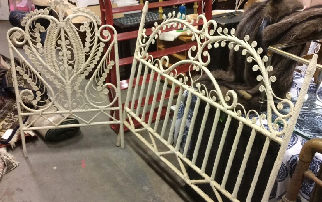 Lot 2 White Toned Vintage Wooden WIcker Bed Frames