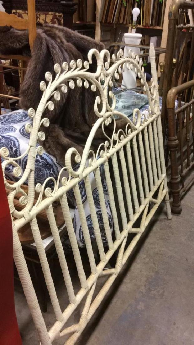 Lot 2 White Toned Vintage Wooden WIcker Bed Frames - 4