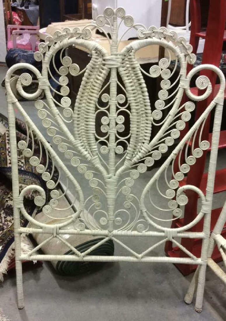 Lot 2 White Toned Vintage Wooden WIcker Bed Frames - 5