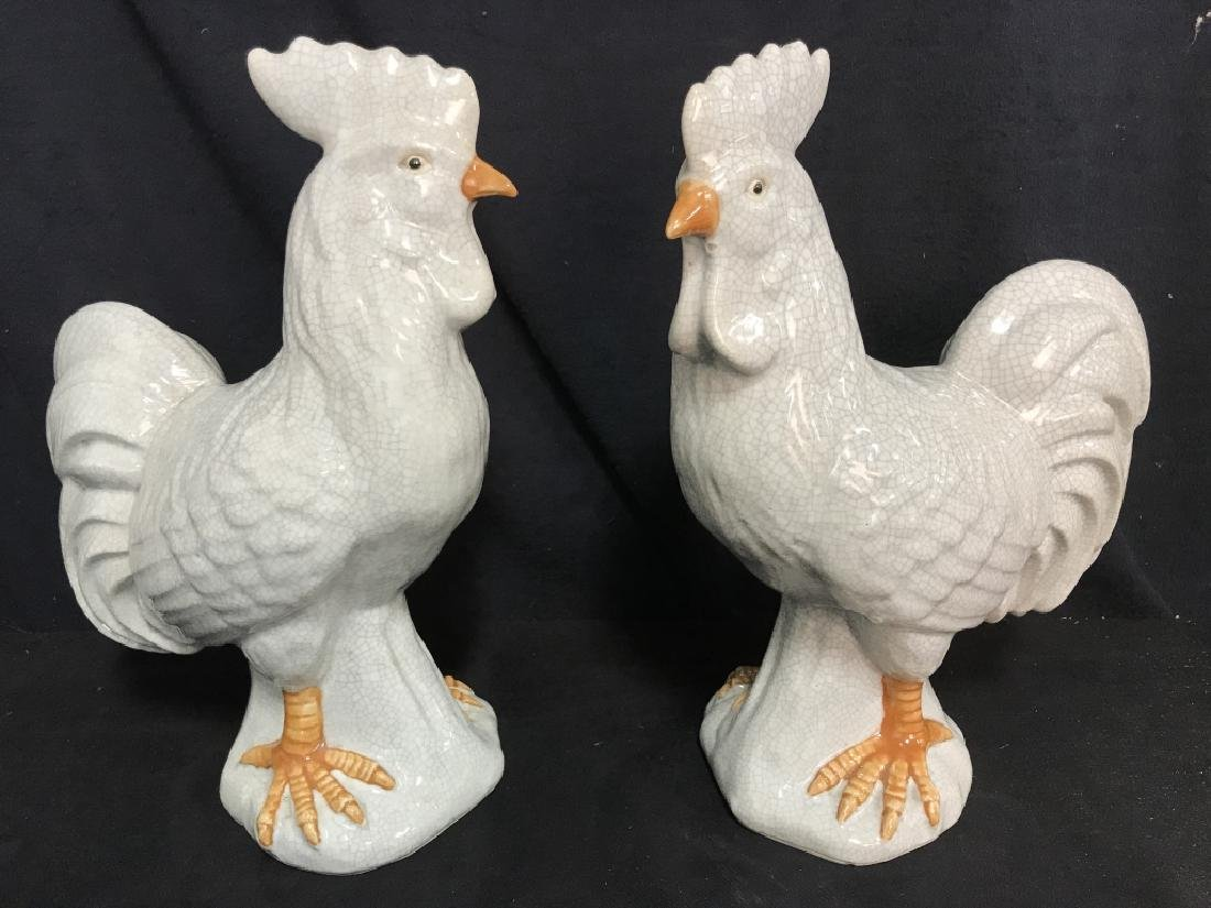 Pair Of Ceramic Rooster Sculptures