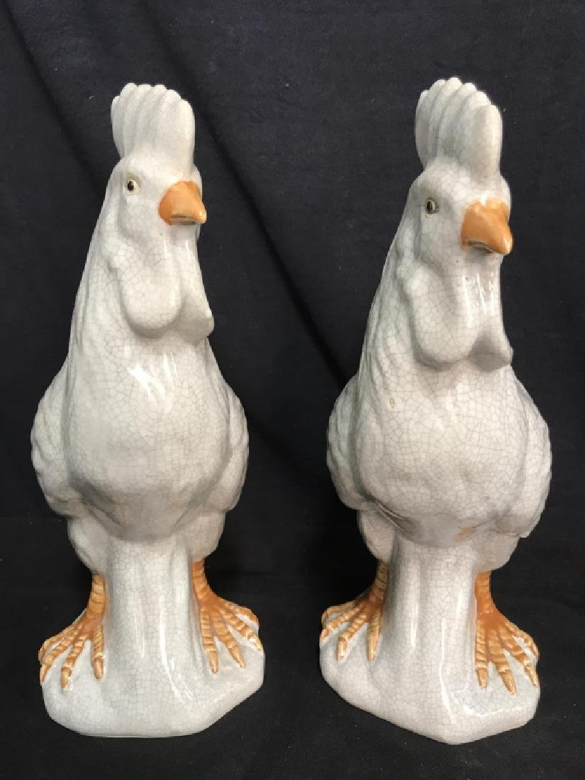 Pair Of Ceramic Rooster Sculptures - 4