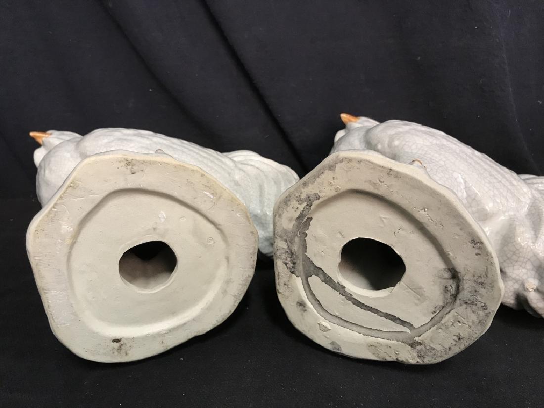Pair Of Ceramic Rooster Sculptures - 5