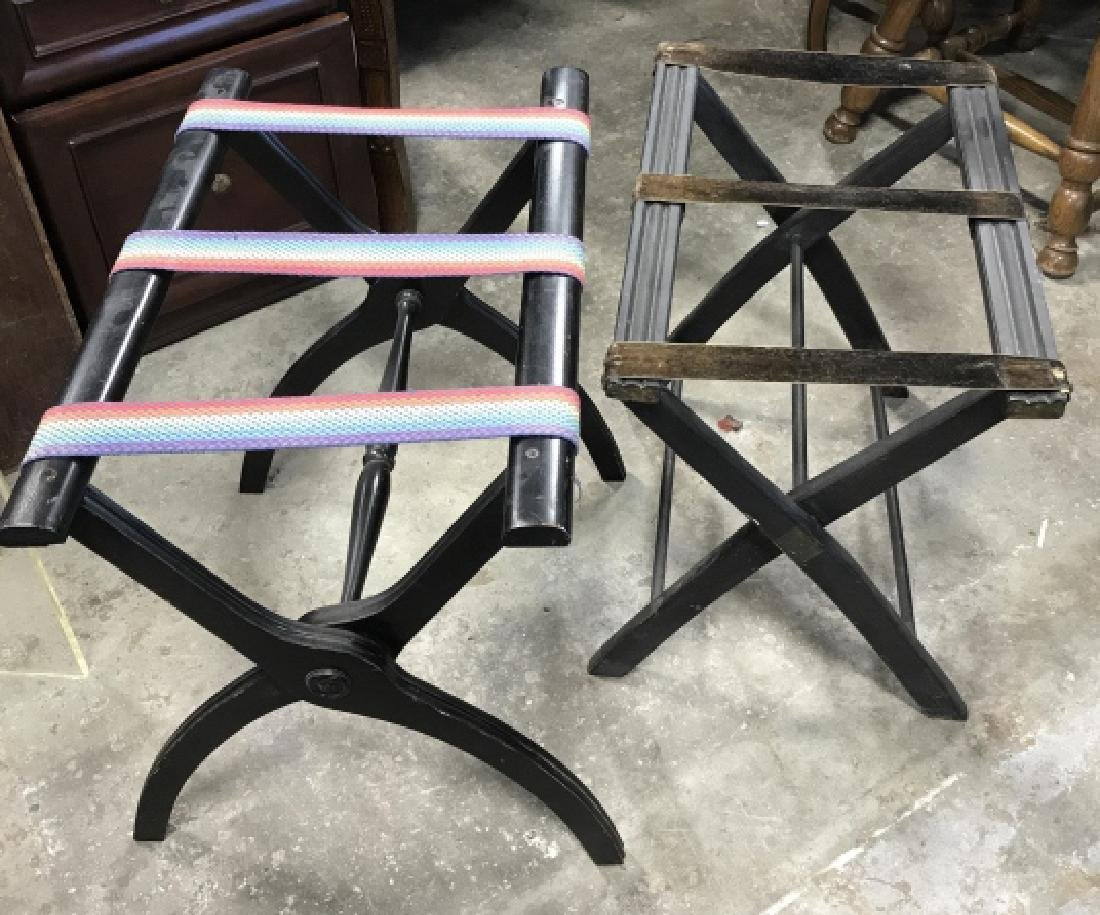Lot 2 Vintage Luggage Racks Tray Stands