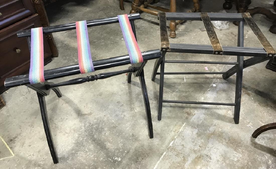 Lot 2 Vintage Luggage Racks Tray Stands - 2