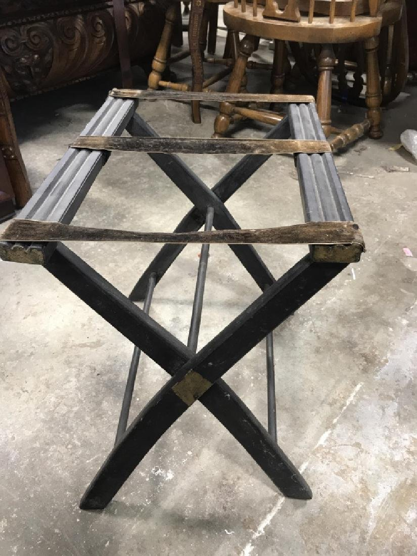Lot 2 Vintage Luggage Racks Tray Stands - 5