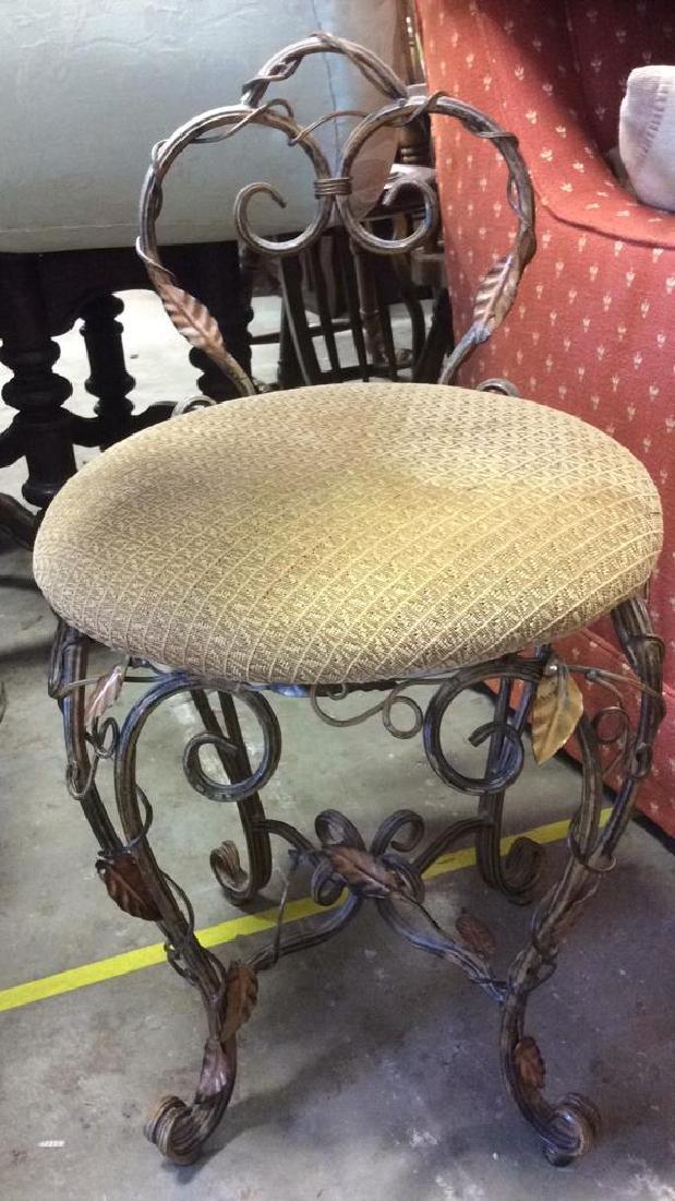 Vintage Mietal Leaf Form Upholstered Chair