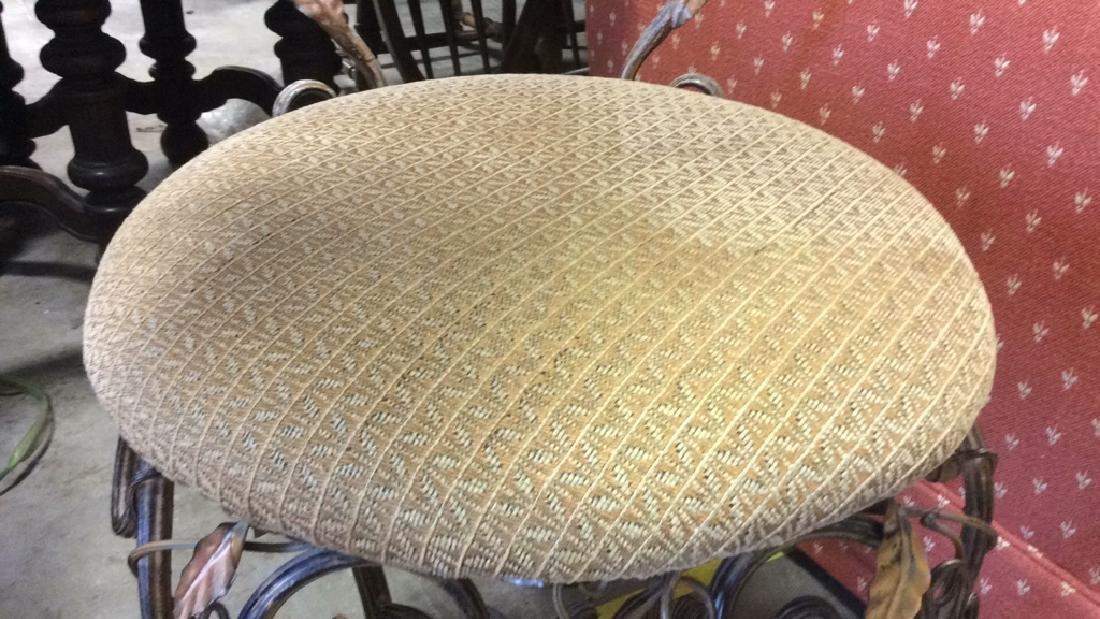 Vintage Mietal Leaf Form Upholstered Chair - 3
