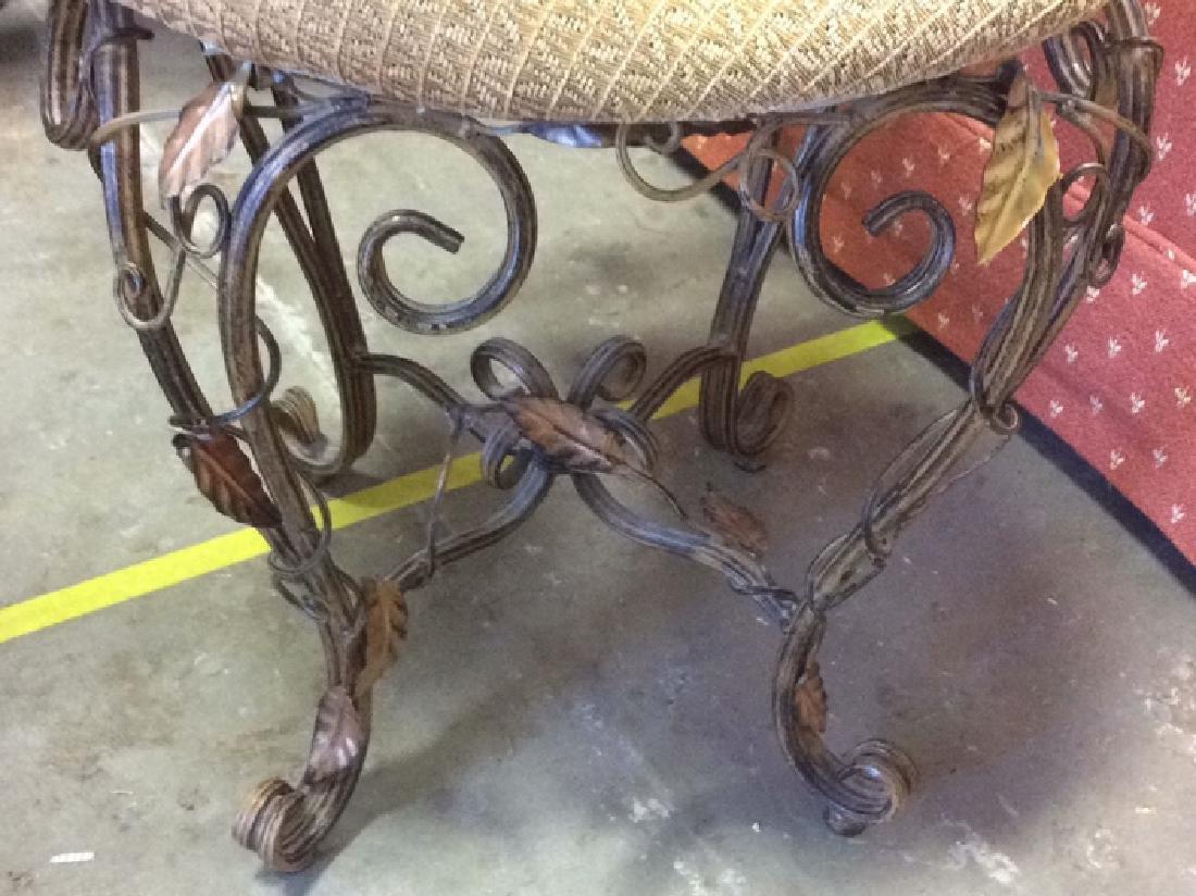 Vintage Mietal Leaf Form Upholstered Chair - 4