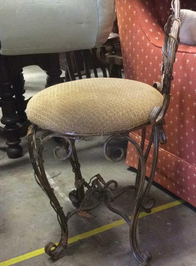 Vintage Mietal Leaf Form Upholstered Chair - 6