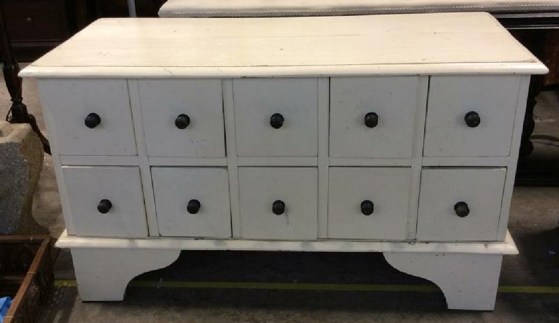 White toned Painted Coffee Side Table W Drawers