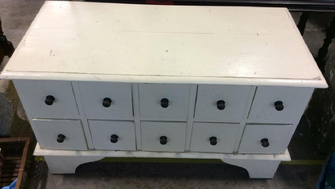 White toned Painted Coffee Side Table W Drawers - 2