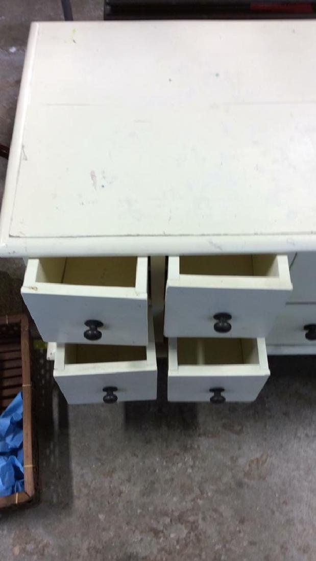 White toned Painted Coffee Side Table W Drawers - 4