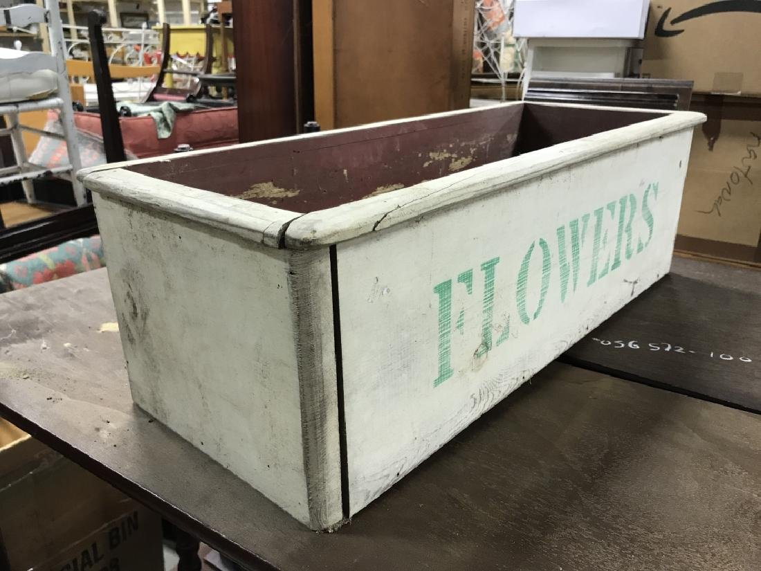 Vintage Painted Wooden Flower Box - 6